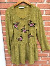 Women Large Dress Long Sleeve Flowy Boho Ashley LeMieux Embroidered w/ Roses