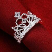 des bijoux les femmes zircon bande mariage princesse bague couronne argenté