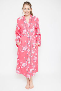 Ladies Womens Pink & Grey Floral Dressing Gown Robe - SIZE 8 10