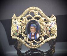 ANTIQUE MINIATURE PORTRAIT BRACELET MAJESTIC SWISS PINCHBECK GOLD ENAMEL C.1840