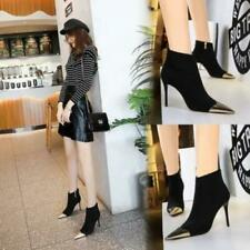 Womens Fashion Faux Suede Metal Pointed Toe Stiletto Heel Ankle Boots Shoes @fzy