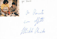 """Michele Placido 1946- genuine autograph signed card 4""""x6"""" w. attached picture"""