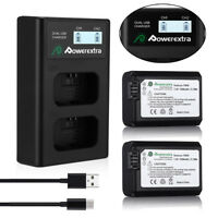 2-Pcs NP-FW50 Battery + Dual Charger For Sony A6000 A3000 A5000 A6300 Alpha a7