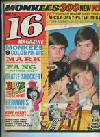 16 Magazine May 1967 Monkees Fang Beatles Dino Desi & Billy Herman Hermits MBX89