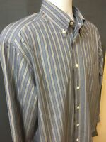 Brioni Long Sleeve Button Up Shirt Made In Italy 100% Cotton Stripe Men's Size L