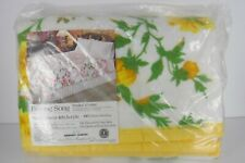 Vintage Owen Sears Acrylic Poly Blanket Queen King 102 x 90 Yellow Floral
