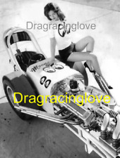 """""""Miss Moon Eyes"""" Babe & Vintage Blown """"Moon"""" Top Fuel Dragster '60s PHOTO! #(7)"""
