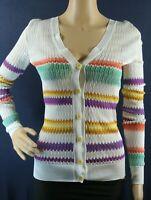 NEW MISSONI  Greek striped crochet-knit cardigan- White size 38 $1,490 #S179