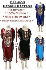 Women's Knee Length Kaftan African Dashiki Cotton Dress One Size Various Styles