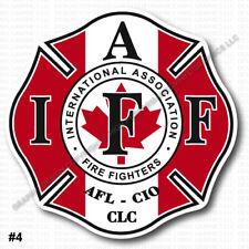 "INSIDE WINDOW MOUNT IAFF Union Firefighter Decal 3.7"" Sticker Canada Flag 0306"