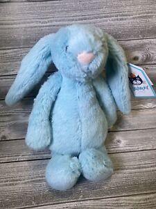 "NEW Jellycat Small Bashful Aqua Bunny Rabbit Plush Soft Stuffed 7"" Lovey NWT"