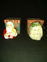 2 Vintage Santa Ornaments Christmas Ornaments Holiday + 2 vintage boxes