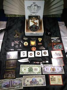 Junk drawer lot Harley Davidson, Kershaw 3840 Knife, Ring, Silver, Watch Lot WCB