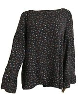 Loft Women's Top Blouse Size L Floral Keyhole Back Bell Sleeve Mix Material