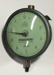 """Federal D2I Dial Indicator Lug Back, 0-.025"""" Range, .0001"""", 0-5-0 Dial"""
