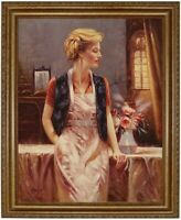 Ölbild, erotische blonde Frau, Blumenstrauß Ölgemälde HANDGEMALT,Gemälde 50x60cm