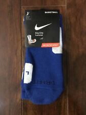Nike Elite Basketball Socks Blue White Large