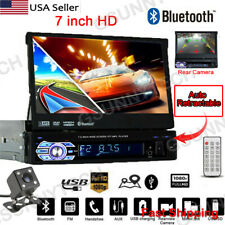 "7"" DH Auto Retractable 1DIN Car Stereo Radio MP4 MP5 Player Bluetooth Camera USB"