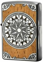 Zippo Oil Lighter Silver Wooden Antique Compass Brass Double Sided Processing