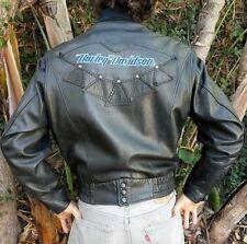 Vintage Authentic Men's Harley Davidson Leather Jacket Black Embroidered, Size M