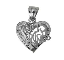 14K Real White Gold 15 Anos Quinceanera Heart Rose Cubic Zirconia Charm Pendant