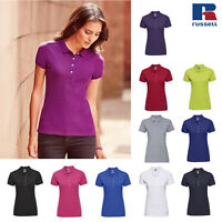 Russell Women's Stretch Short Sleeve Polo Shirt R-566F-0 - Ladies Collar Top Tee