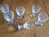Set of 6 Royal Brierley Crystal Liqueur Glasses BRAEMAR pattern.  Immaculate.