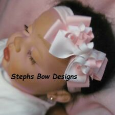Soft Pink White Dainty Layered Korker Hair Bow Headband Fits Preemie to Toddler