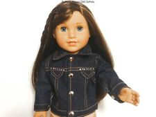 Rhinestone Dark Wash Denim Jacket 18 in Doll Clothes Fits American Girl