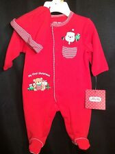 NWT Infant Little Me MY FIRST CHRISTMAS Sleeper + Hat NB Red Santa NEW $26