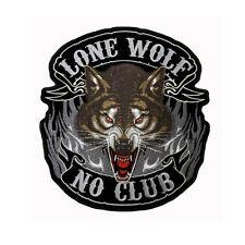Großer Biker Lone Wolf Kopf No Club Aufbügler Aufnäher Back Patch Rückenaufnäher