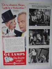 1947 Edgar Bergen Charlie McCarthy GE Lamps Light Bulbs Vintage Print Ad 350