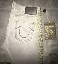 NWT True Religion Jeans... Jude Skinny Sand Drifter... Cheetah Print Sz27