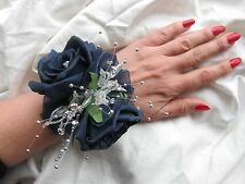Navy & Silver Wrist Corsage Prom Or Wedding Flowers Foam Rose Bride Maid Mother
