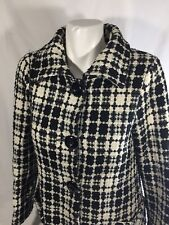 Sashimi Women Black White Coat plaid Button Up Purple linen   Size M