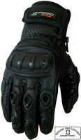 MENS MOTORBIKE VENTED CARBON KNUCKLE PERFORATED SUMMER MOTORCYCLE LEATHER GLOVES