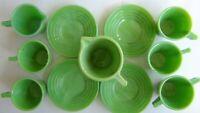 VTG Akro Agate Green Kid's Tea Set for 4 w/Tea Pot,Creamer,Sugar Bowl FREE SHIP!