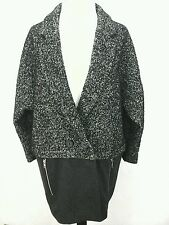 TOPSHOP Womens Black/Gray Tweed Wool Oversized Jacket Coat Blazer US 6 EU 38