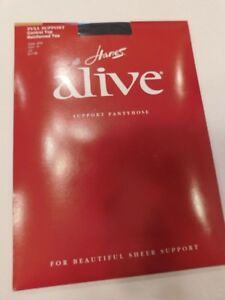 Hanes Alive Full Support Control Top Reinforced ToePantyhose Jet Size E
