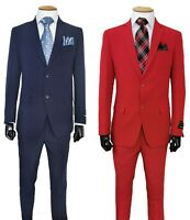 Men's  Two Button Slim Fit Suit Flat Front Pants Design By Fortino Landi 702Ps