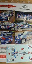 DECALS 1/24 REF 606 PEUGEOT 206 WRC ITERA VASIN RALLY 1000 MIGLIA 2003 RALLYE