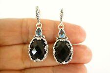 Black Onyx Blue Topaz Ornate 2-Stone 925 Sterling Silver Dangle Earrings