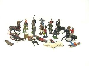 *HUGE Vintage LOT of 22 Lead Soldiers & Figures Horses Animals Barclay Manoil*
