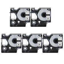 5x Heat Shrink Tube Label Ind Tape Black On White 18051 For Dymo Rhino 5200 14