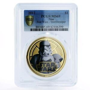 Niue 1 dollar Star Wars series Stormtrooper MS69 PCGS gilded copper coin 2012