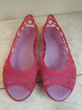 CROCS Isabella Jelly Flats Circles Pink Open-Toe Sandals Women's Shoes Size 6
