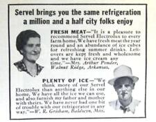 Original 1940 Servel Refrigerator Photo Ad Mrs Arthur Ponder, Walnut Ridge, AR