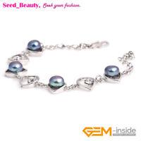 """6-7mm Freshwater Pearl Beads Eye Shape White Gold Plated Bracelet 8"""""""