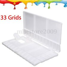 33 Grids Large Art Paint Tray Artist Oil Watercolor Plastic Palette Hole White