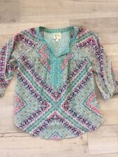 ANTHROPOLOGIE fig And Flower Top- Petite Small- Blue Green Pink